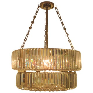 Nickel-Plated and Crystal Chandelier in the Art Deco Manner For Sale