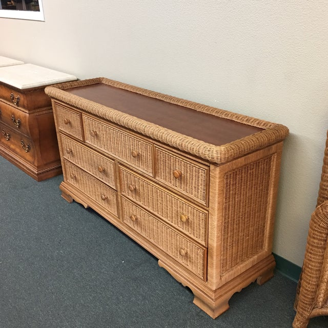 Seven Drawer Wicker Dresser - Image 4 of 6