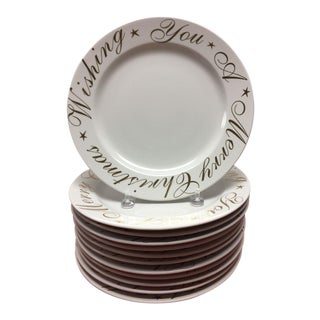 """Wishing You A Merry Christmas"" Plates - Set of 12"