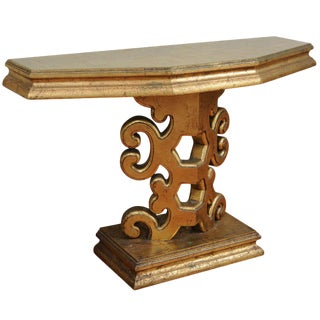 Gold Leaf Carved Wood Console Table Circa 1980 For Sale