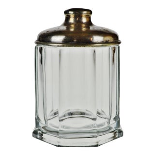 Vintage Heavy Glass Tobacco Jar With Silver Plate Lid