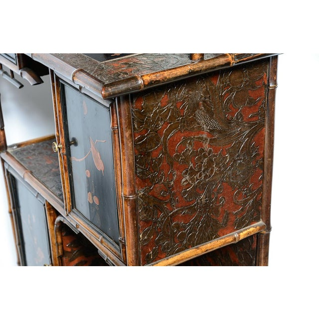 Aesthetic Movement Antique English Bamboo and Lacquer Cabinet For Sale - Image 3 of 9