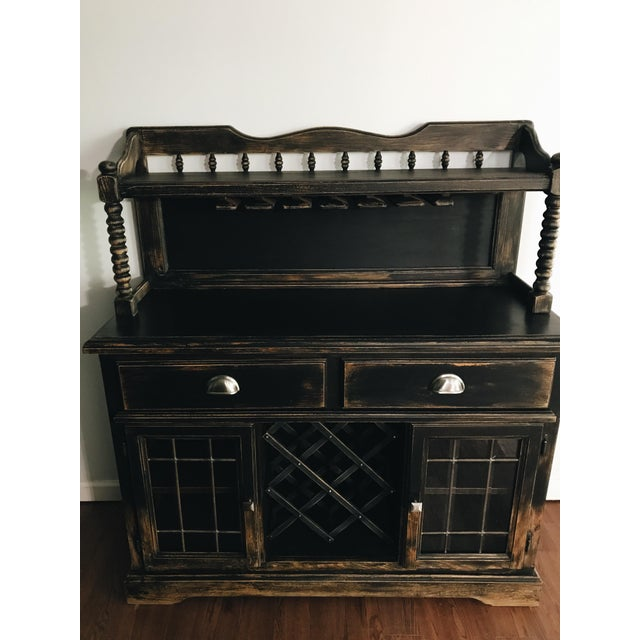 Black Distressed Bistro Coffee Bar Hutch Cabinet For Sale - Image 10 of 11