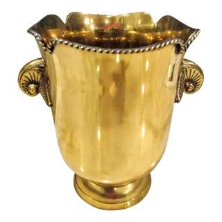 Brass Vintage Hollywood Regency Bottle Ice Bucket Holder For Sale