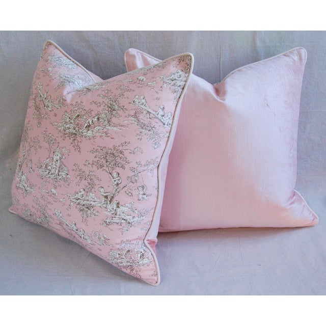 French Pink Toile & Velvet Pillows - A Pair - Image 7 of 11