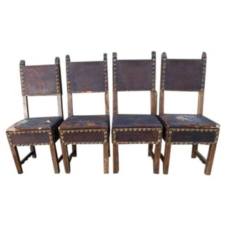Spanish Colonial Santa Barbara Mission Chairs - Set of 4 For Sale