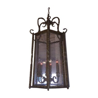 Large Wrought Iron Foyer Hanging Light For Sale