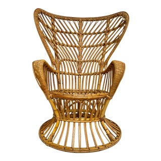 Mid Century Wingback Rattan Lounge Chair Attributed to Gio Ponti For Sale