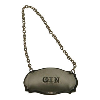 Vintage English Silverplated Gin Liquor Bottle Collar For Sale