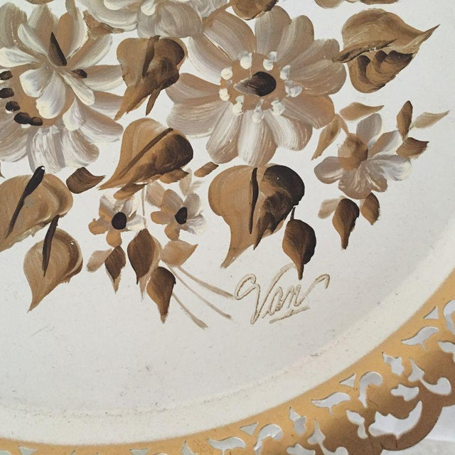 Vintage Hand Painted Floral Tole Tray For Sale - Image 4 of 7
