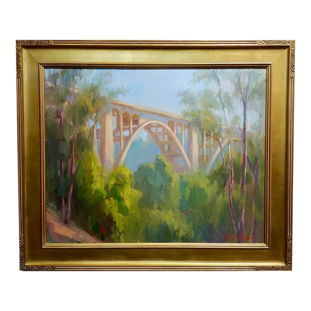 "Arthur Bjorn Egeli ""Colorado Street Bridge"" Signed Oil Painting For Sale"