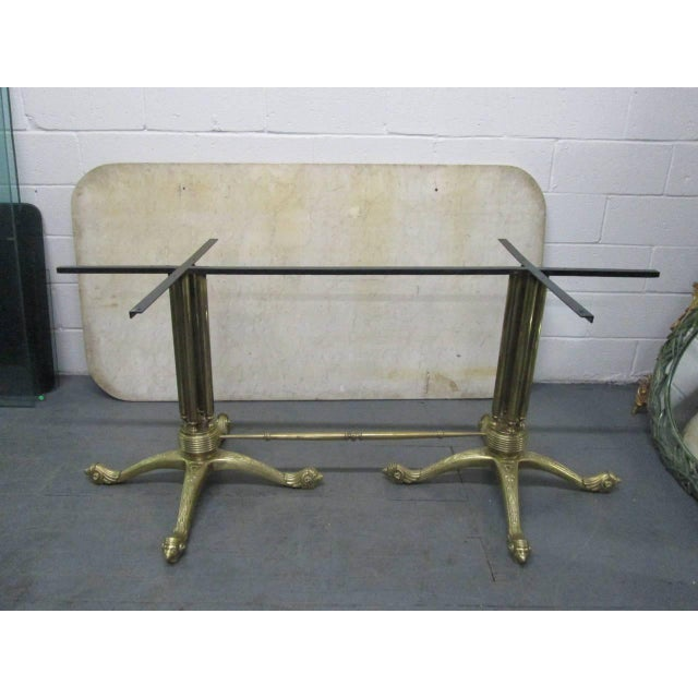 Brass and Marble-Top Dining Table For Sale - Image 10 of 11