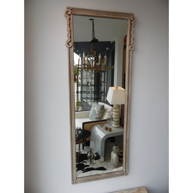 Beautiful decorative mid-century console with a cream marble top and matching mirror. Perfect as hall piece or room...