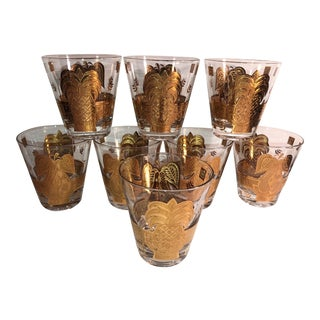Mid-Century Modern George Briard Gold Fruit Glasses - Set of 8 Gold on Clear Glass Mad Men Style Cocktail Glass For Sale