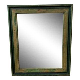 Salvaged Wood Green Finish Wall Mirror For Sale