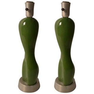 Pair Rare Russel Wright Ceramic Nude Form on Spun Aluminum Base For Sale