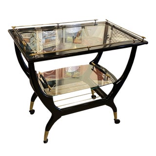 Mid-Century Black Lacquer Drink Cart For Sale