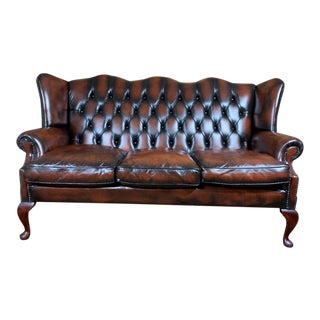 Vintage Early 20th Century English Leather Chesterfield Wingback 3 Seat Sofa, Cordovan For Sale