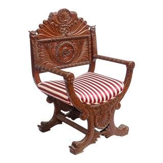 19th Century Renaissance Revival Upholstered Walnut Savonarola Antique Armchair For Sale