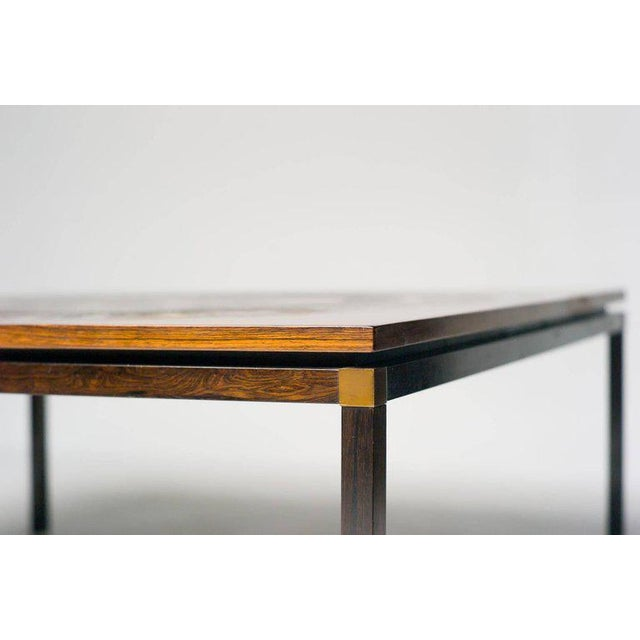 Scandinavian architectural coffee table with embossed copper tabletop with ancient Egyptian Farao period decoration,...