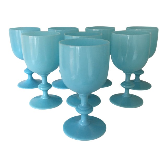 1900s French Portieux Vallerysthal Blue Opaline Water Goblets - Set of 8 For Sale