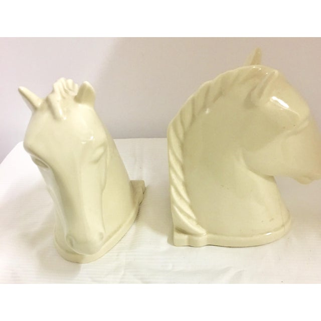 1940s 1940s Mid-Century Modern Abington Pottery Ivory Horse Bookends - a Pair For Sale - Image 5 of 8