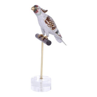 Chinese Cloisonné Bird on a Stand For Sale