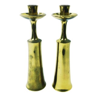 1950s Brass Jens Quistgaard for Dansk Danish Modern Candlesticks - a Pair For Sale