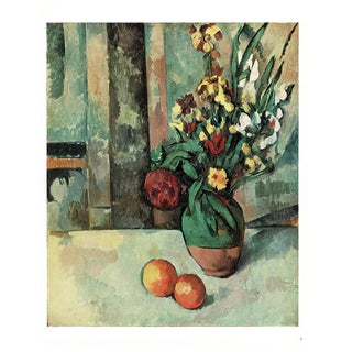 1940s Cezanne Vase of Flowers and Apples Still Life From Switzerland For Sale