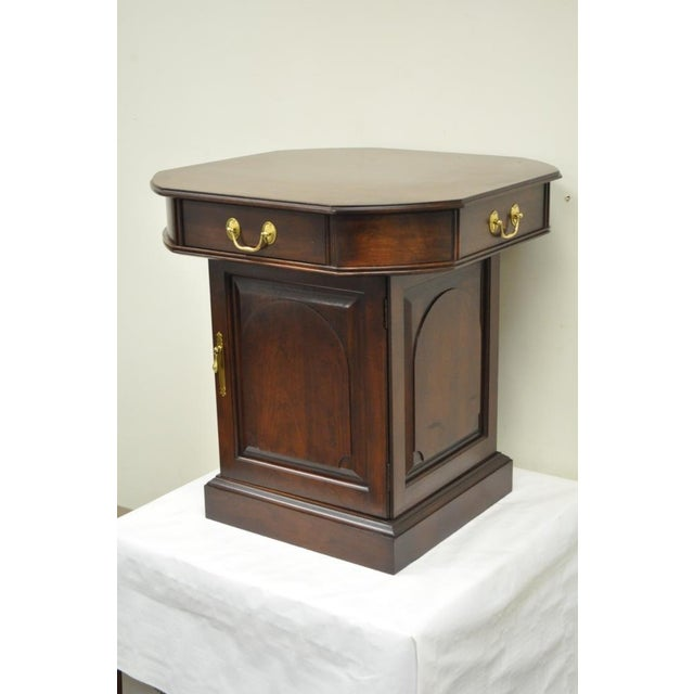 Harden Solid Cherry Octagonal Storage Cabinet End Table - Image 6 of 11
