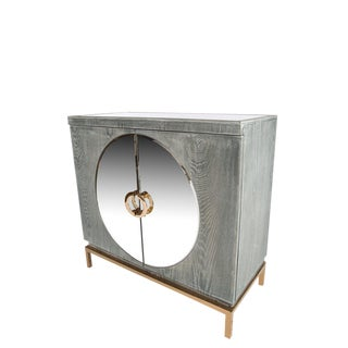 Statements by J Mirrored Accent Cabinet With Gold Legs