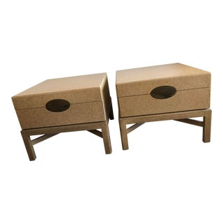 1980s Linen Lacquer Marge Carson End Tables - A Pair For Sale