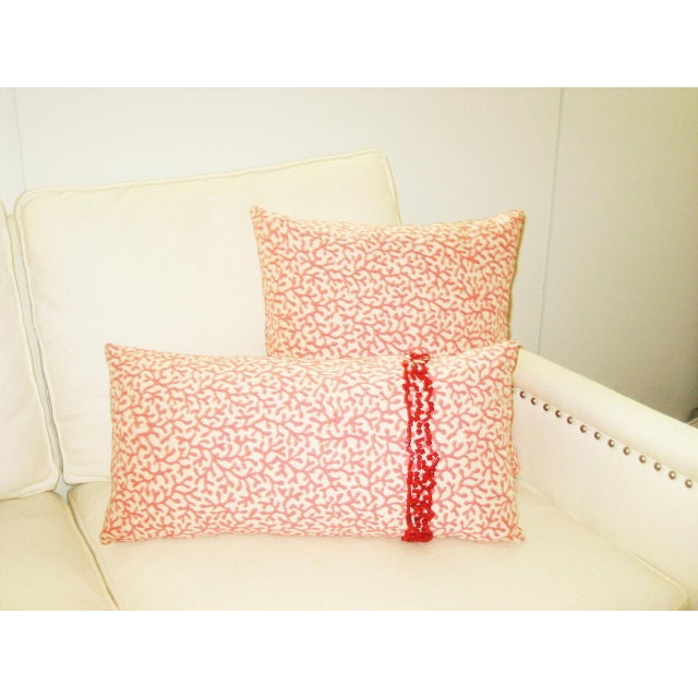 Outdoor/Indoor Coral Print Pillow For Sale - Image 4 of 4