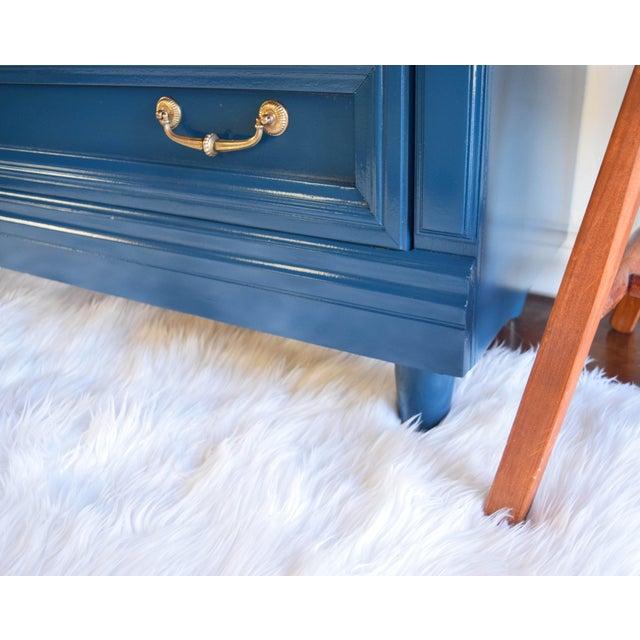 Wood Vintage Blue Glossy Dresser For Sale - Image 7 of 10