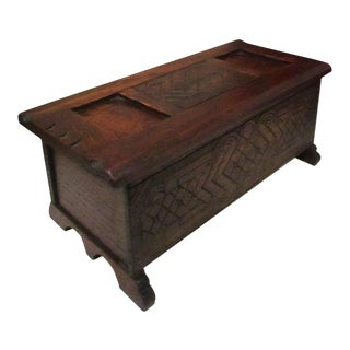 Antique 1800s New England Carved Walnut Painted Miniature Dower Chest