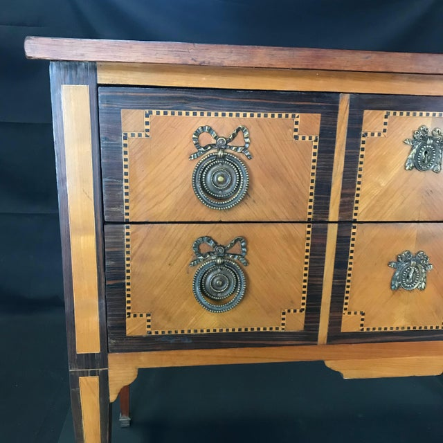 French Louis XVI Style Petite Marquetry Inlaid Two Drawer Commode For Sale - Image 4 of 13