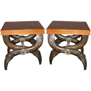 Pair of 1970s French Bronze and Pear Tree Wood Stools
