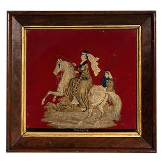 Petit Pointe Needlework Honoring Queen Victoria in Mahogany Frame For Sale