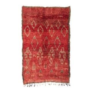 Vintage Moroccan Tribal Boujad Rug - 5′8″ × 9′ For Sale