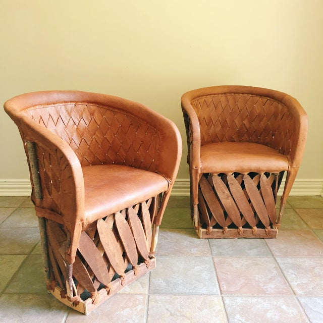 Early 21st Century Early 21st Century Vintage Equipale Leather Woven Barrel Back Chairs- A Pair For Sale - Image 5 of 5