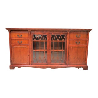 English Yew Wood Bookcase and Credenza For Sale