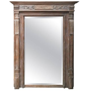 19th Century Antique Neoclassical Style French Limed Wood Beveled Mirror For Sale