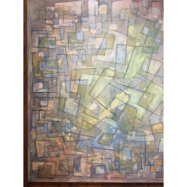 Abstract Abstract Colorful Graphite on Canvas For Sale - Image 3 of 6