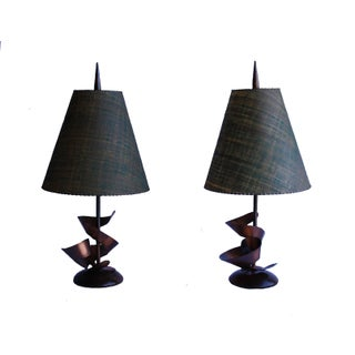 Brutalist Laurel Lamps by Harry Balmer - A Pair