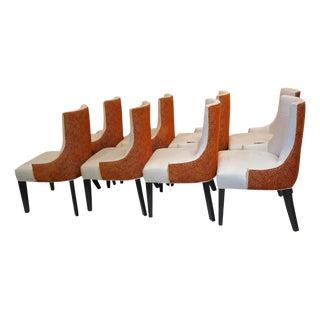 Custom Microsuede & Orange Velvet Barrel Back Dining Chairs-Set of 8 For Sale