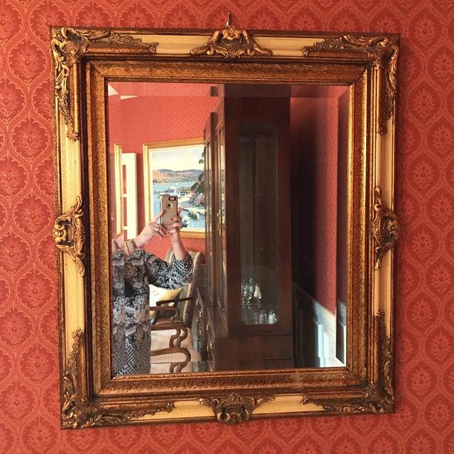 Vintage Carved Crackled Wood & Burnished Gold Mirror - Image 2 of 8