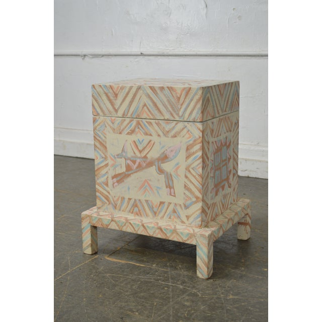 Hand Painted Folk Art Small Lift Top Chest For Sale - Image 9 of 11