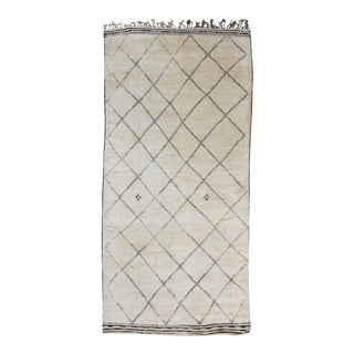 20th Century Moroccan Off-White Wool Beni Ourain Rug For Sale