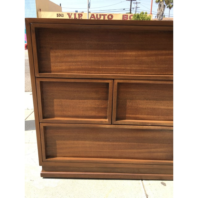 Wood 1940s Mid Century Modern Triangle Brand Mahogany Low Dresser For Sale - Image 7 of 11