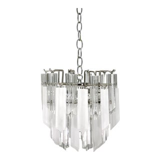 Mid Century 3-Tier Lucite Camer/Venini Style Chandelier For Sale